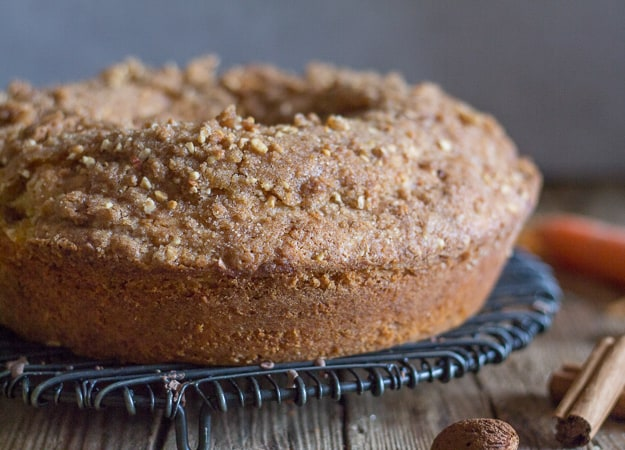 coffee cake on a wire rack