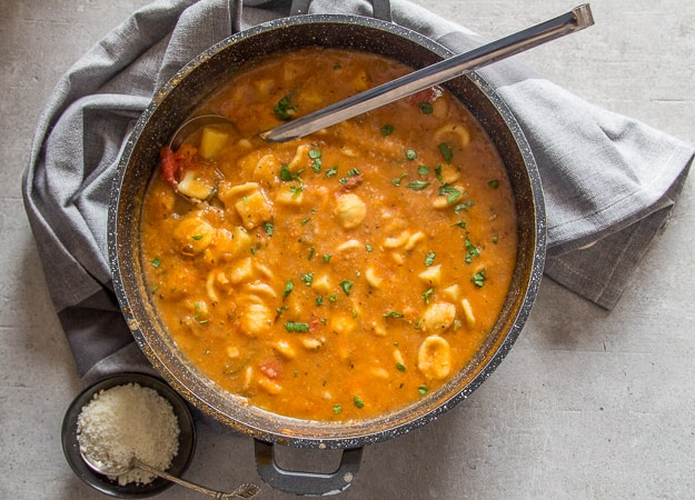 hearty chickpea soup in a bowl