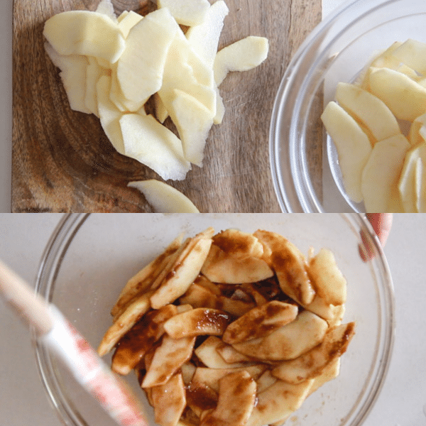 apple tart how to make, sliced apples and coated apples