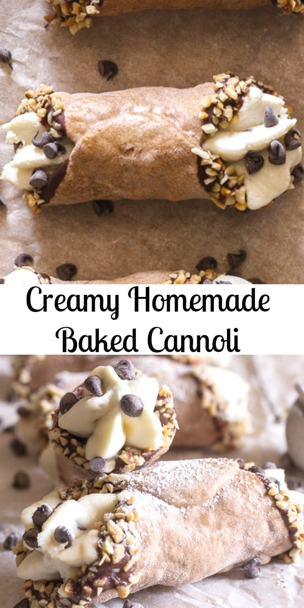 Creamy Homemade Baked Cannoli.  Cannoli, baked not fried, just as delicious but a little bit healthier.  Filled with a creamy Ricotta Chocolate Chip Filling, Perfect! #cannoli #bakedcannoli #Italianrecipe #dessert #ricottafilling #sweets