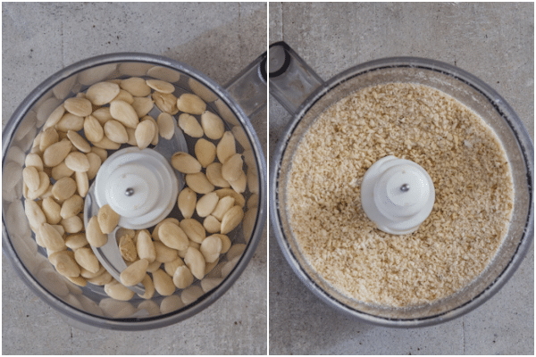 almonds in the mixer and ground with the sugar