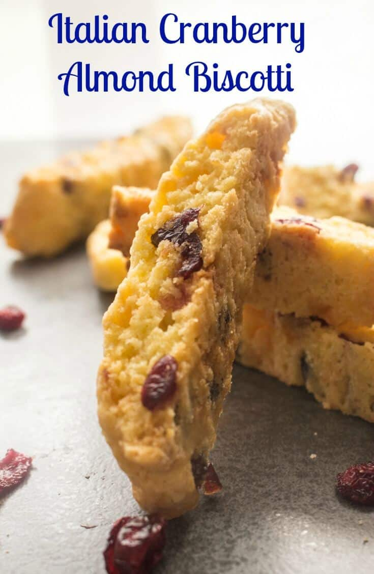 Italian Cranberry Almond Biscotti, a traditional Italian Christmas Cookie,fast,easy,yummy & crunchy. Cranberries,almonds and chocolate chips. #biscotti #cookies #Italiancookies #Italianrecipe #sweets #dessert