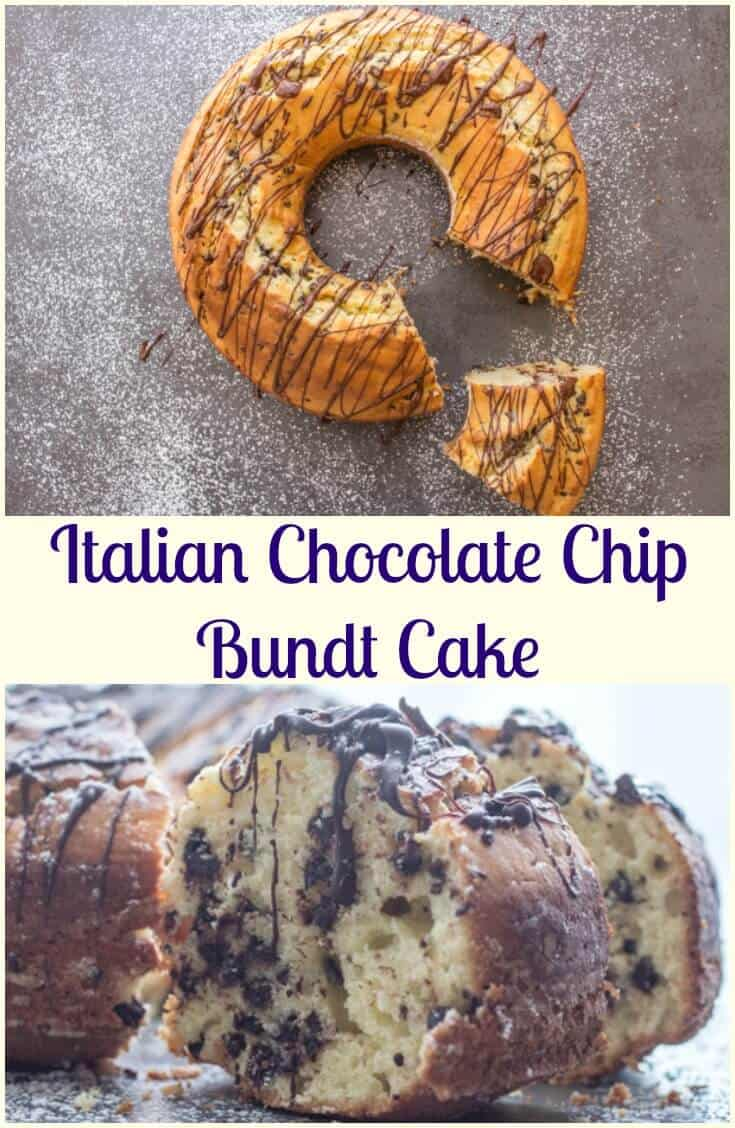 Italian Chocolate Chip Bundt Cake, an easy made from scratch moist cake recipe. The perfect breakfast, snack or dessert cake. #cake #bundtcake #snack #Italian #ricottacheese #dessert