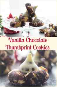 Vanilla Chocolate Thumbprint Cookies, a delicious Christmas Cookie recipe, fast and easy and perfect with a kiss of choice.