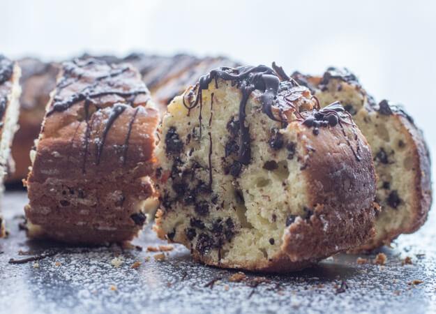 chocolate bundt cake with a piece cut