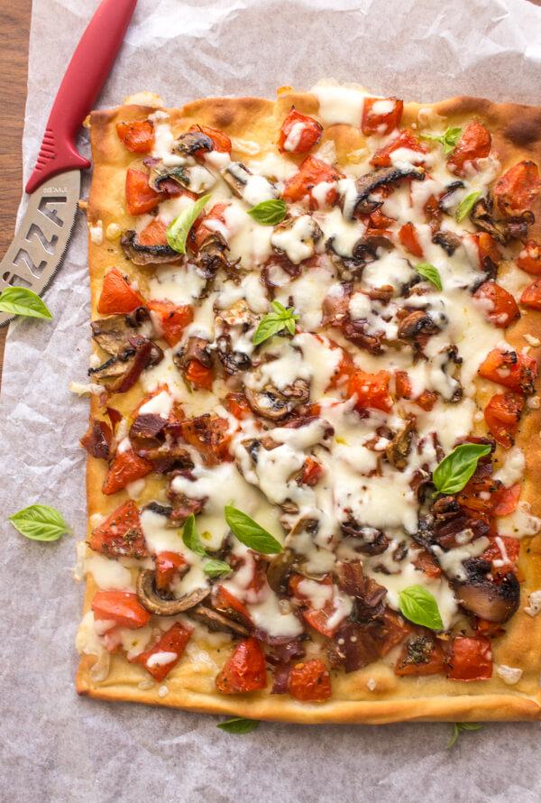 Cheesy Sautéed Mushroom Pancetta Pizza