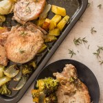 Sheet Pan Italian Pork Chops a fast, easy and healthy dinner recipe idea, veggies of choice make it a family favourite.
