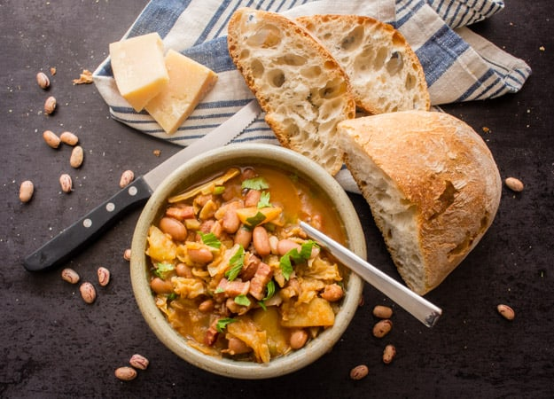 Italian Bean Pancetta Cabbage Soup, an easy delicious Comfort Soup recipe. Full of Borlotti beans, Pancetta or Bacon and Cabbage.