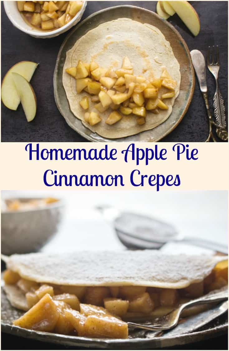Apple Pie Cinnamon Crepes, a homemade, fast & easy crepe recipe with a delicious apple pie filling.  The perfect snack or dessert.