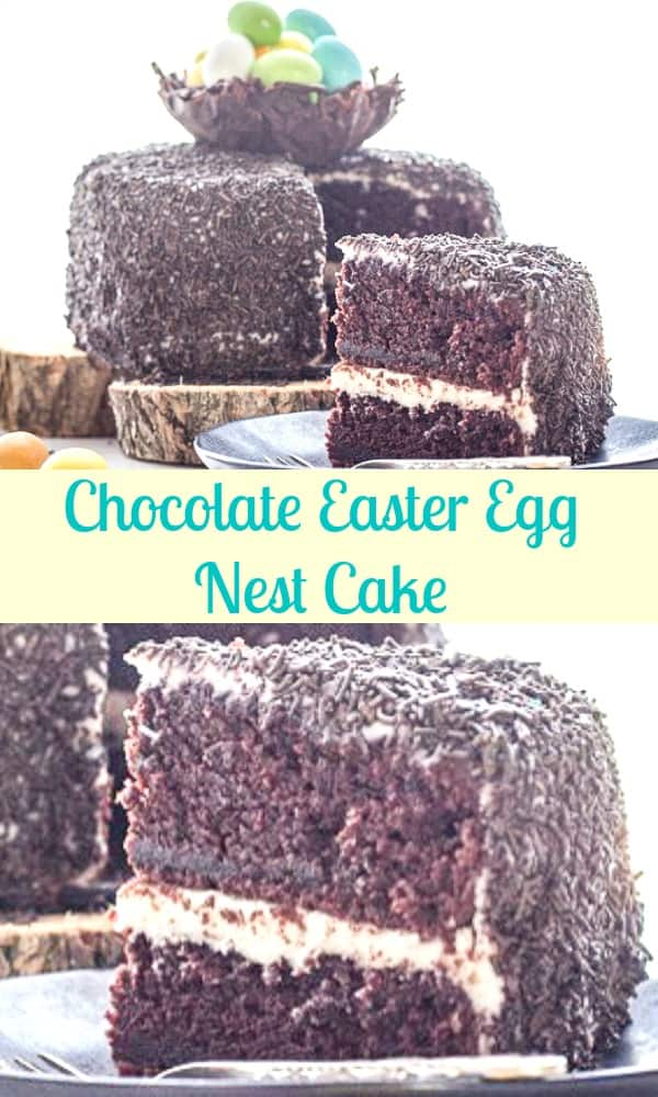 Chocolate Easter Egg Nest Cake, a delicious Chocolate Cake Dessert Recipe with a Cream Cheese Frosting and a tasty chocolate nest topping. #easter #cake #chocolatecake #eastercake