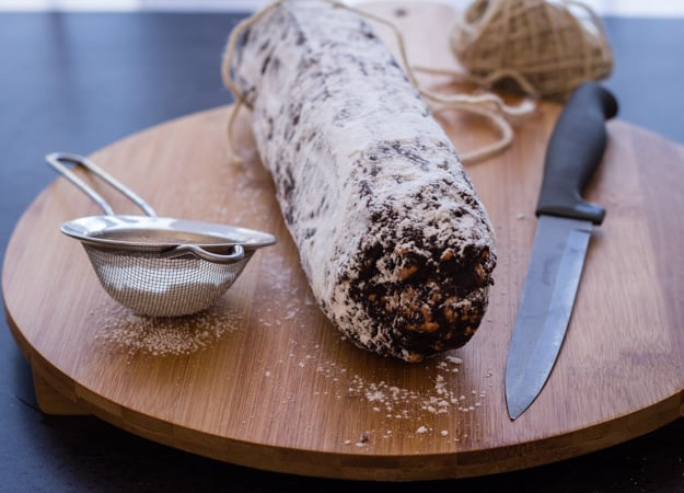 Chocolate Salame a delicious Italian Chocolate recipe, a fast and easy no bake sweet. Snack or Dessert the perfect treat.