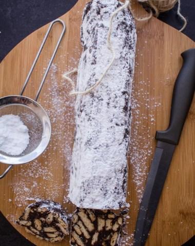 Italian Chocolate Salame, fast, easy no bake chocolate treat.