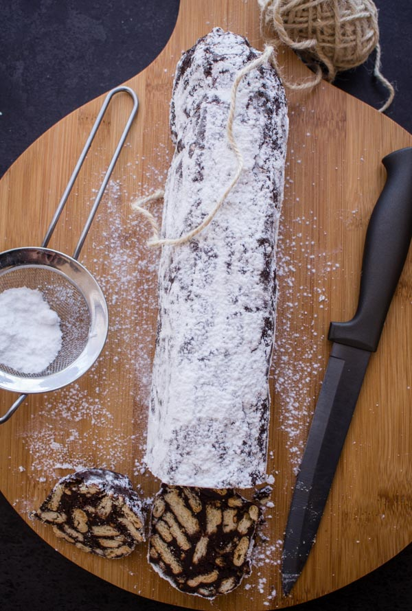 Italian Chocolate Salame, fast, easy no bake chocolate treat.