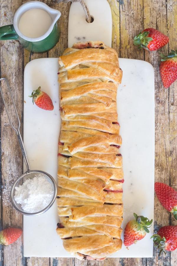 strawberry strudel on a white board