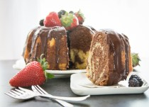 marble cake, chocolate cake with strawberries and blackberries
