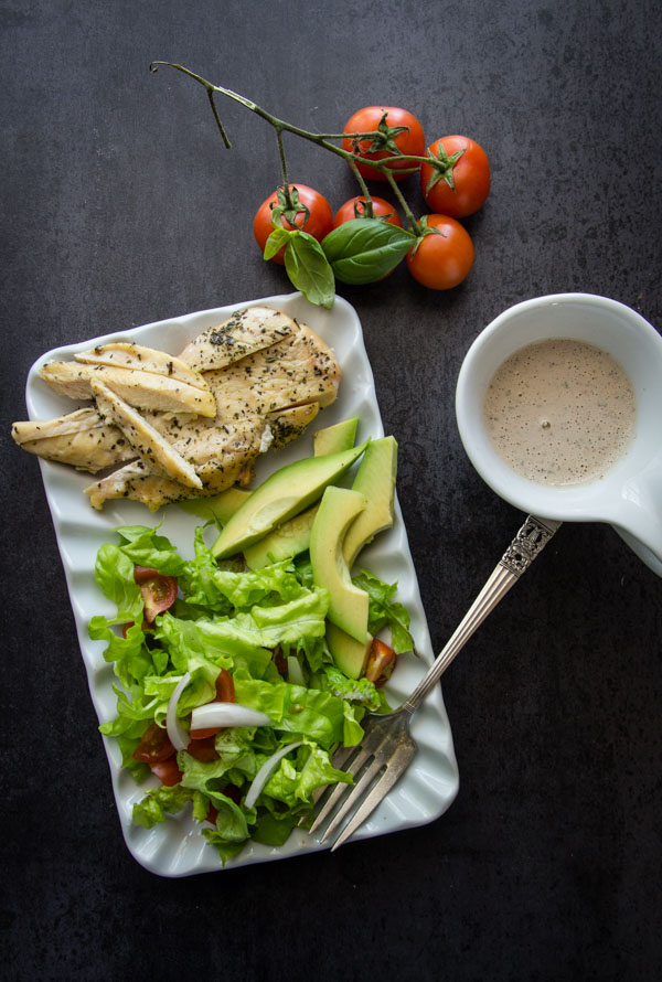 Homemade Creamy Italian Dressing with Grilled Chicken Salad