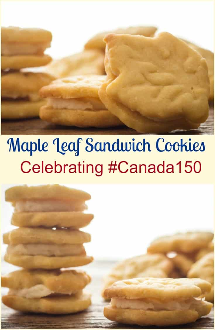 Maple Leaf Sandwich Cookies, a delicious delicate maple crunchy cookie with a creamy smooth maple filling. Celebrate #Canada150.