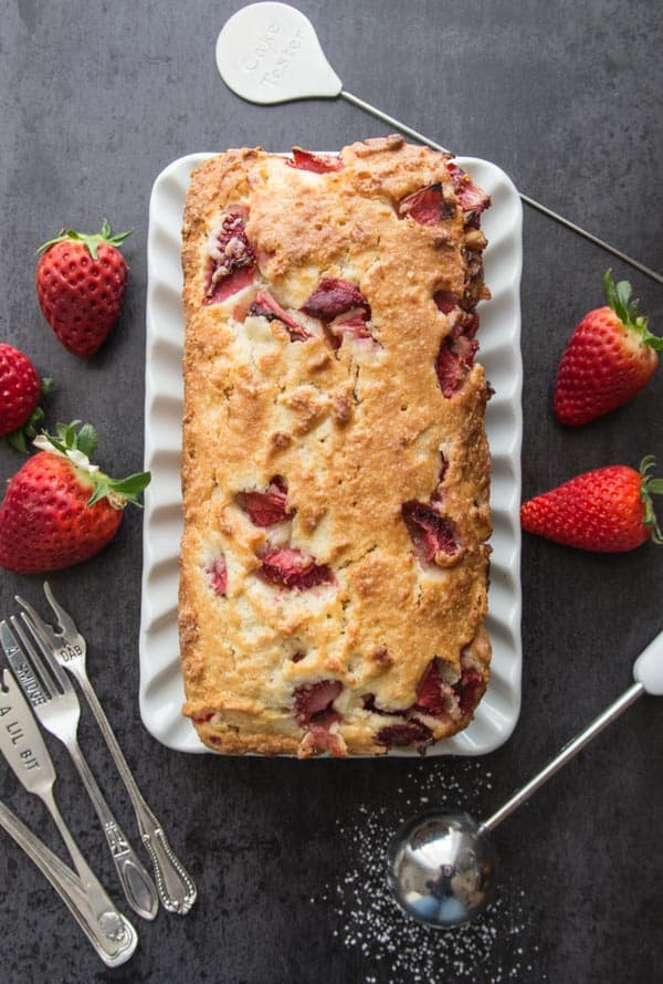 Strawberry Quick Bread, an easy made with fresh Strawberries sweet loaf, the perfect dessert, snack or breakfast treat.