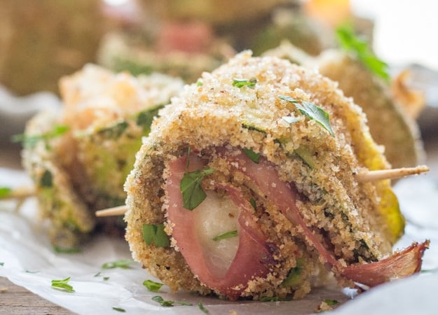 baked breaded zucchini roll ups close up