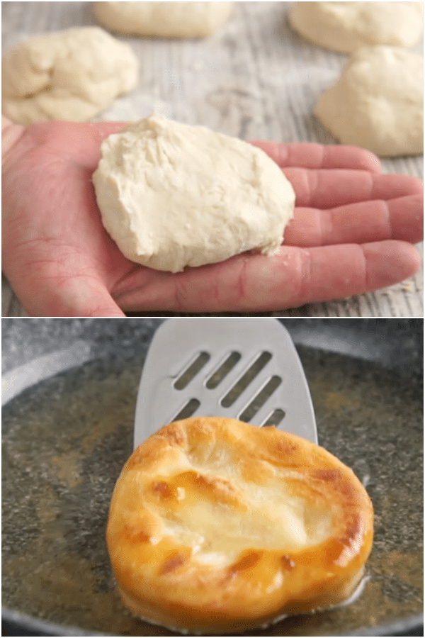 bannock bread how to make, formed into a ball and flattened, and fried in oil in a pan
