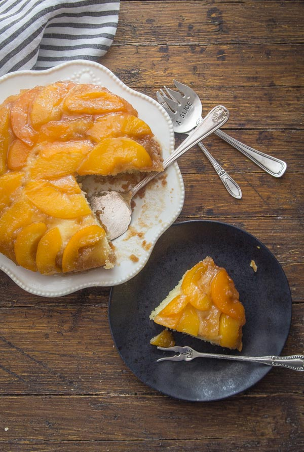 Peach Upside Down Cake is an easy summertime Homemade dessert recipe. Made with fresh or canned peaches, a little ice cream and it's perfect.