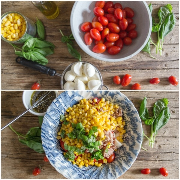 corn salad how to make, ingredients & mixed in a bowl