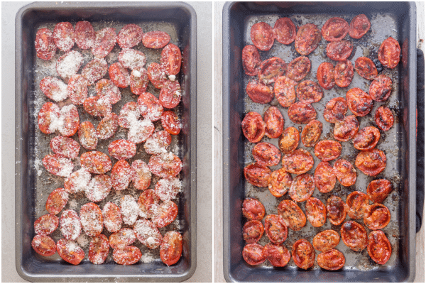 how to make roasted tomatoes ready for baking sliced with spices and parmesan and baked