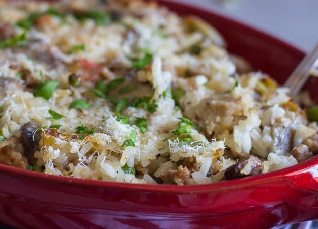 close up of cooked Italian sausage and vegetable rice casserole