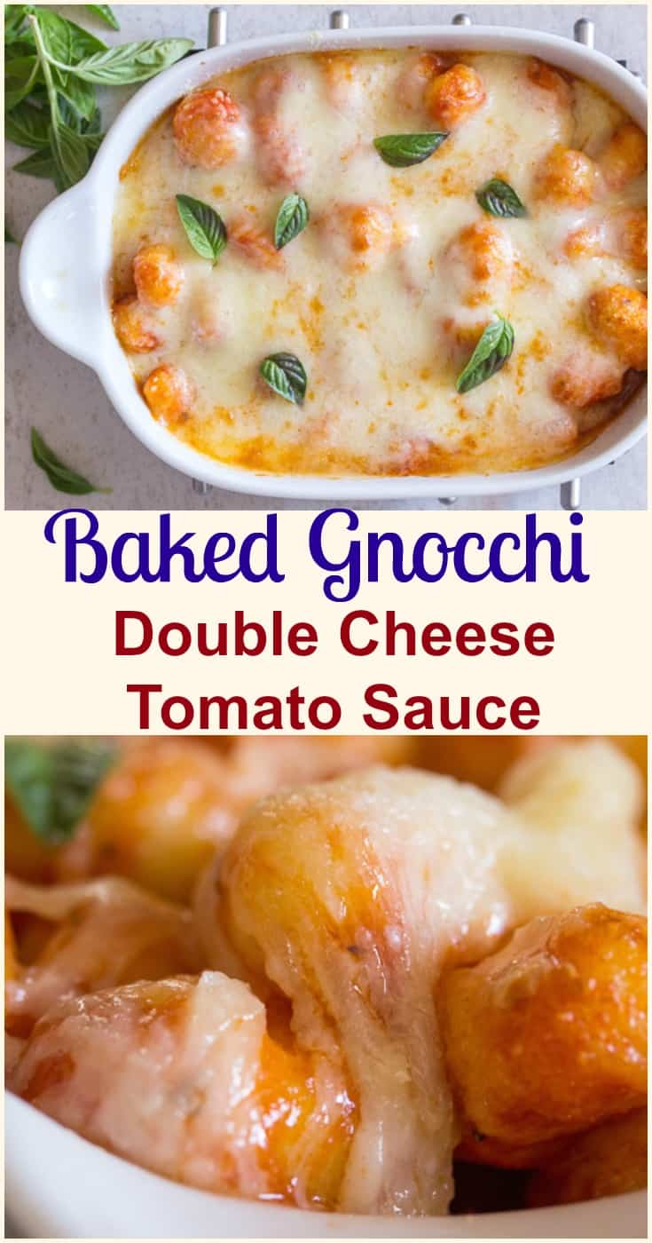 Baked Gnocchi Double Cheese Tomato Sauce a fast and easy pasta recipe, baked in a simple tomato sauce topped with mozzarella & Parmesan. #pasta #gnocchi #Italian #tomato sauce #dinner #easy recipe