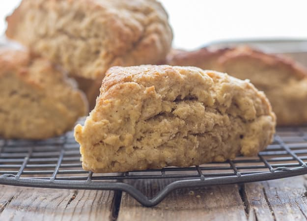 up close of brown sugar cinnamon scones on a wire rack