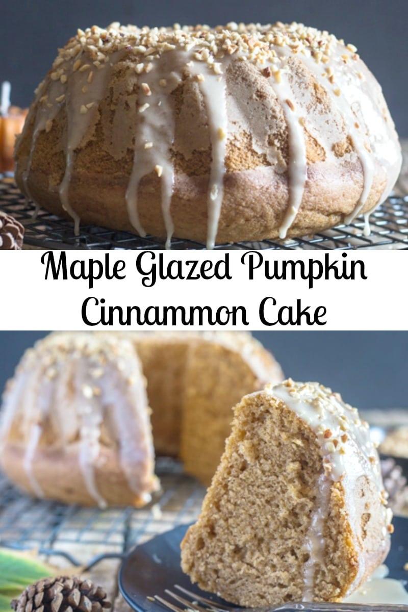 Maple Glazed Pumpkin Cinnamon Cake, a delicious Pumpkin Bundt Cake Recipe with a 3 ingredient Maple frosting.  The perfect Fall Desert. #pumpkincake #cake #dessert #falldessert #pumpkincinnamoncake #mapleglaze