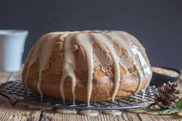 pumpkin cinnamon cake with maple glaze