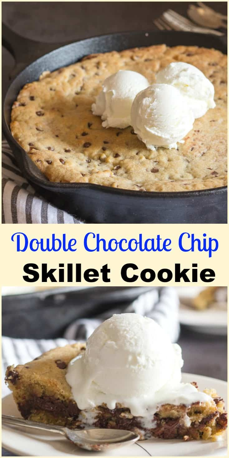 Double Chocolate Chip Skillet Cookie, an easy Cast Iron cookie recipe, stuffed with melted dark chocolate.  Top with ice cream so delicious. #cookie #skillet #chocolate #baked #dessert