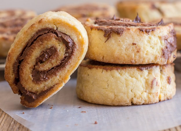 close up of 3 crunchy nutella no yeast rollups