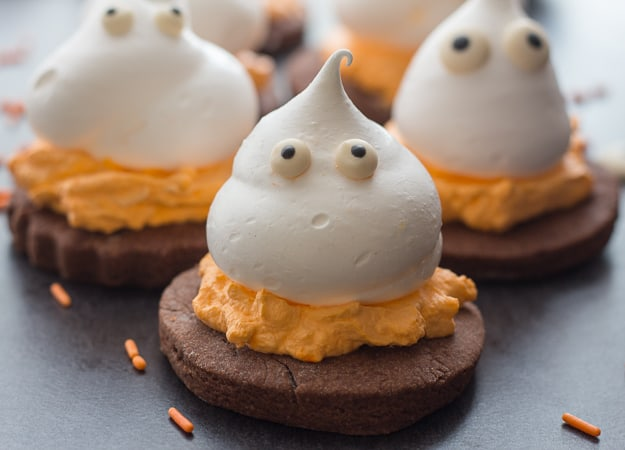 3 meringue ghost chocolate sugar cookies
