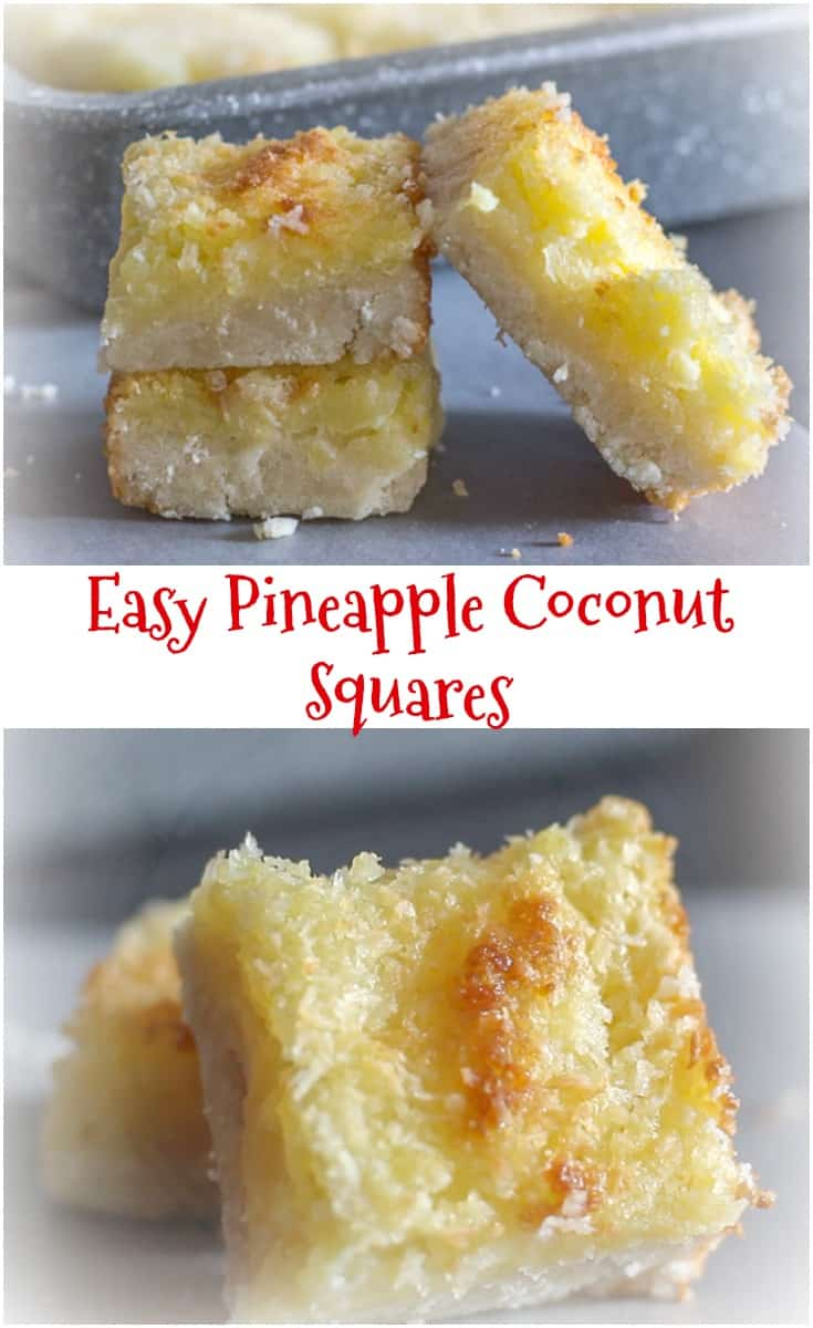 Easy Pineapple Coconut Squares,  a buttery #shortbread base and a delicious #Coconut #Pineapple filling makes this the perfect #cookie #square.
