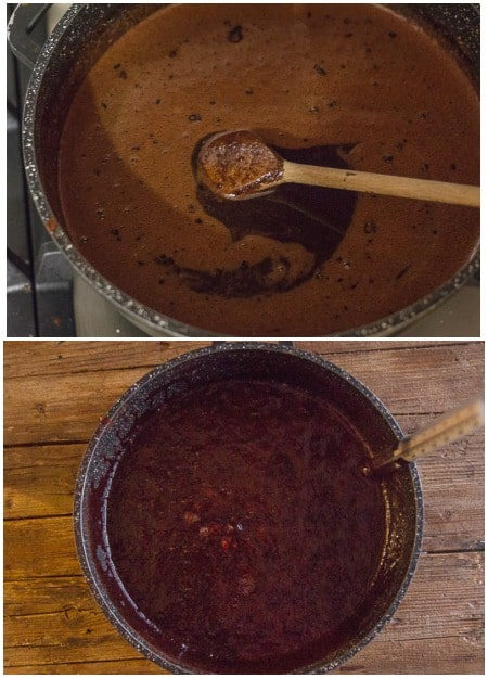 2 photos of making chocolate fudge, the mixture before boiled and when boiling