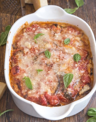 eggplant parmesan baked in a white pan