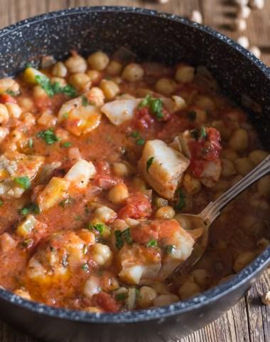 baccala recipe in a black pan