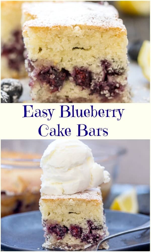 Easy Blueberry Bars are a moist delicious dessert.  These cake bars are made with either fresh or frozen blueberries.  A fast and easy recipe makes them perfect for breakfast, snack or dessert. #blueberrybars #blueberrycake #fruitdessert #dessert #snackcake