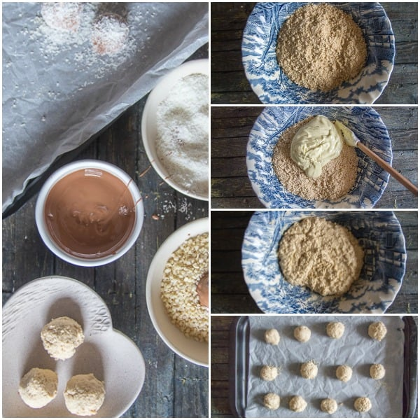 how to make cookie truffles ground cookies, mixed with melted white chocolate and shaped into balls