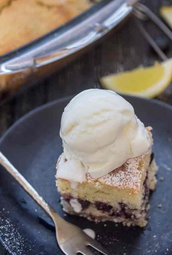 blueberry bars with a scoop of ice cream on top