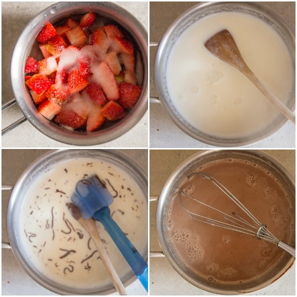 how to make panna cotta cream in a pot, add the chocolate and gelatin.