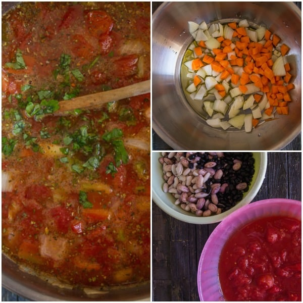 how to make 3 bean chili , soaked beans and in the pot