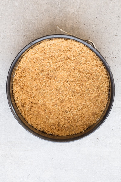 cookie crumb base in the pan to be refrigerated