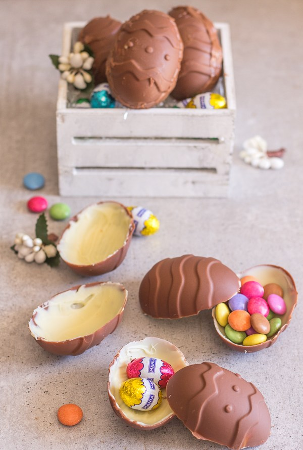 chocolate easter eggs filled and empty