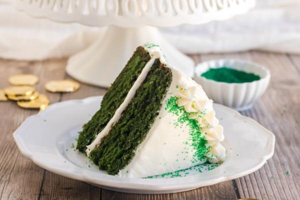 a slice of green velvet on a white plate