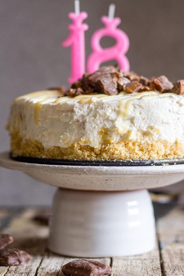 no bake cheesecake on a white plate