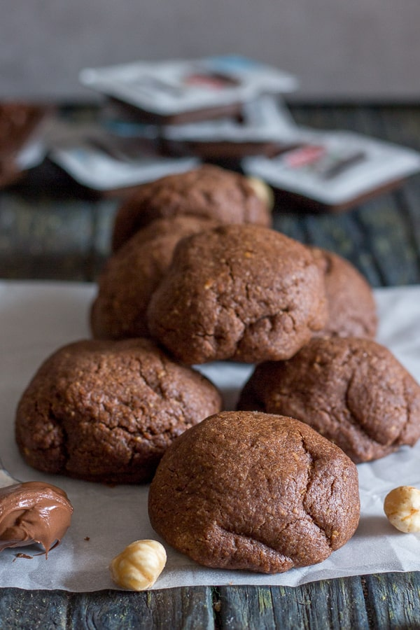 nutella stuffed cookies on top of each other
