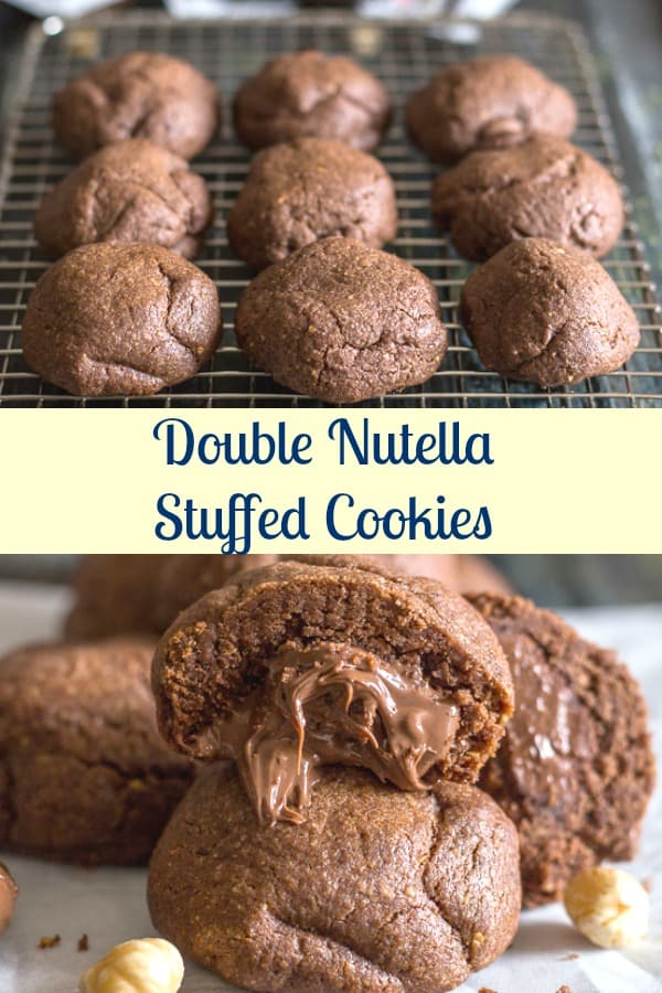 Nutella Stuffed Cookies, a simple fast, easy and crunchy Nutella Cookie Dough stuffed with the Creamy Hazelnut Filling makes these double Nutella Cookies the perfect treat. #Nutella #cookies #stuffedcookies #cookiedough